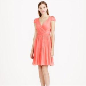 J CREW Silk Chiffon Mirabelle Dress 2P NWT CORAL